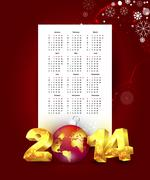 calendar for 2014 with new year background - stock illustration