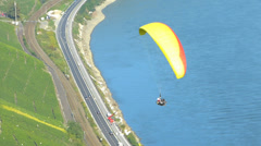 T/L Hang Gliding start flying Rhine valley Boppard Rhineland-Palatinate Stock Footage