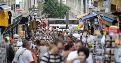 Ultra HD 4K Crowded People Shopping Street Steinkerque Famous Montmartre Area Stock Footage