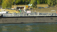 Stock Video Footage of T/L Boppard Rhine Valley ferry barge boat freight Rhineland-Palatinate Germany