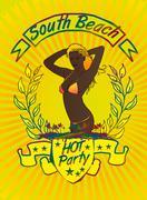 Palm beach samba girls vector art Stock Illustration
