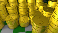 Stock Video Footage of Stacks of gold coins.