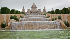 Fountain on Placa De Espanya, before National Museum in Barcelona, Spain Stock Footage