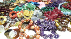 semigem necklaces and beads jewelery as fashion background - stock footage