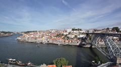 Portugal. Porto city. View of Douro river embankment Stock Footage
