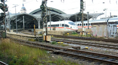 Departure of ICE high speed train at Cologne central station Stock Footage