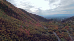 Canyon aerial with walking trails and fall colors - stock footage