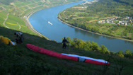 Stock Video Footage of Para Glider Hang Gliding flying Rhine valley Boppard Rhineland-Palatinate