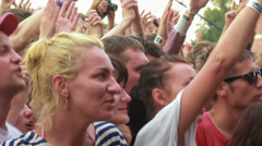 Fan-girl cries during live performance of russian rock band Bi-2 Stock Footage
