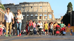 Prams pushed in Rome Stock Footage