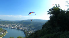 Para Glider Hang Gliding flying Rhine valley Boppard Rhineland-Palatinate - stock footage