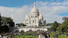 Montmartre Sacred Heart Basilica of Paris wide shot - stock footage