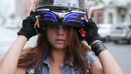 Stock Video Footage of Woman motorcyclist