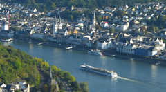 T/L Boppard Rhine Valley cruise tour boat freight Rhineland-Palatinate Germany Stock Footage
