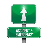 accident and emergency road sign illustration - stock illustration