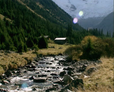 Krimmler Ache river runs through Alpine pastures - medium shot Stock Footage