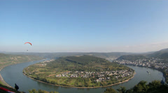 T/L Hang Gliding flying Rhine valley Boppard Stock Footage