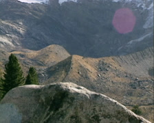 Pan moraine hills in glacial landscape at end of the Krimml Achen valley Stock Footage