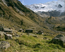 Glacier and moraine hills in glacial landscape at end of the Krimml Achenvalley Stock Footage
