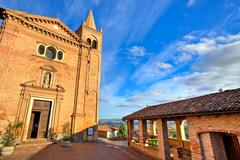 Church and small square. monticello d'alba, italy. Stock Photos