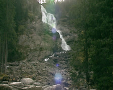 Krimml Waterfalls - wide shot waterfall fed by the Krimmler Ache rive Stock Footage