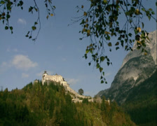 Hohewerfen Fortress, a strategic bulwark on a rock  - wide shot Stock Footage