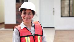 Hispanic Female Foreman Smiling - stock footage