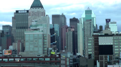 New York 179 Manhattan, Skyline at Hudson River, daybreak Stock Footage