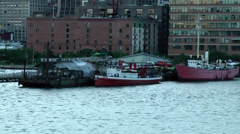 New York 168 Manhattan, Hudson River Shoreline with Waterfront Buildings Stock Footage