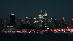 New York 136HD Manhattan Skyline at Evening, Tracking Shot from Hudson River Stock Footage