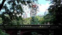 New York 264HD Manhattan, Central Park, Bridge for Walking, Skyscrapers, Trees Stock Footage