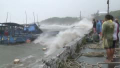 Fishermen Watch Helplessly Hurricane Storm Surge In Port  Stock Footage