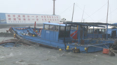 Fishing Boats Shelter In Port During Hurricane Stock Footage