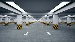 Underground parking repeatly moving Stock Footage