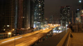 Toronto highway at night. Timelapse. Zoom out. HD Footage