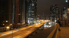 Toronto highway at night. Timelapse. Zoom out. Stock Footage