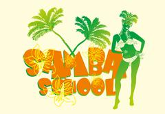palm beach samba girls vector art - stock illustration