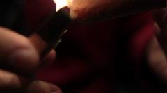 Lighting Cigar Close-up Stock Footage