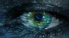 Underwater life reflected in human eye - school of fish in eye Stock Footage