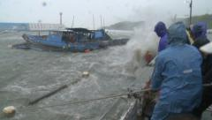 Hurricane Storm Surge Lashes Port Fishermen Try To Save Boats Stock Footage
