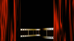 Filmstrip lower thirds behind red theater curtains Stock Footage