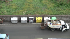 Grabage truck and municipal workers. Stock Footage