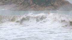 Waves Crash Ashore Ahead Of Hurricane Stock Footage