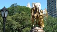 Stock Video Footage of New York 248HD Manhattan, Pigeons on golden Statue 5th Ave. Grand Army Plaza
