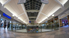 Mall Upper Level fisheye lens view Stock Footage
