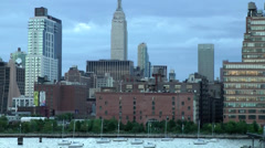 New York 169 Manhattan, Waterfront Buildings west, Hudson River Stock Footage