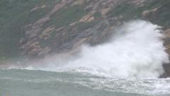 Large Waves Crash Into Cliffs As Hurricane Nears Stock Footage