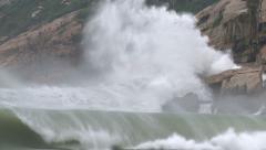 Large Hurricane Swells Crash Into Cliffs - stock footage