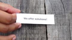 We offer solutions Stock Footage