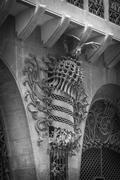 the guell palace designed by gaudi, in barcelona - stock photo